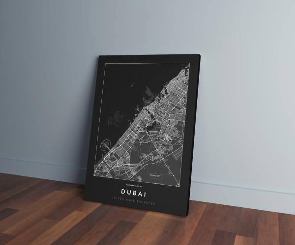 Dubai úthálózata vászonképen - sötét