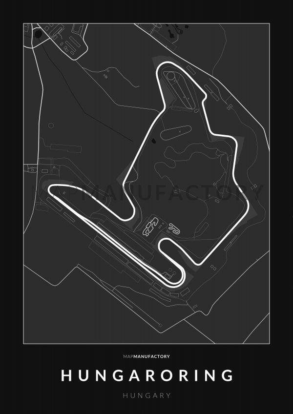 Hungaroring versenypálya poszteren - sötét
