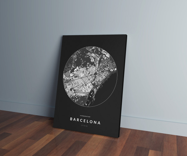 Barcelona épületei körben vászonképen - sötét
