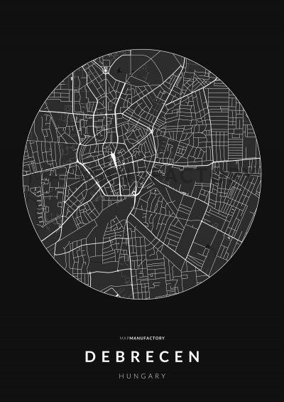 Debrecen úthálózata körben poszteren - sötét