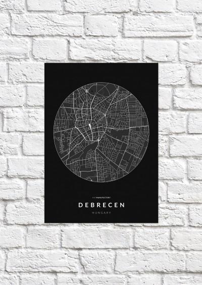 Debrecen úthálózata körben poszteren - sötét-1