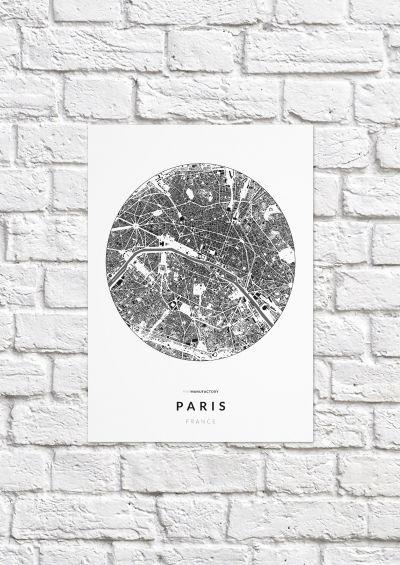 Párizs épületei körben poszteren - világos-1