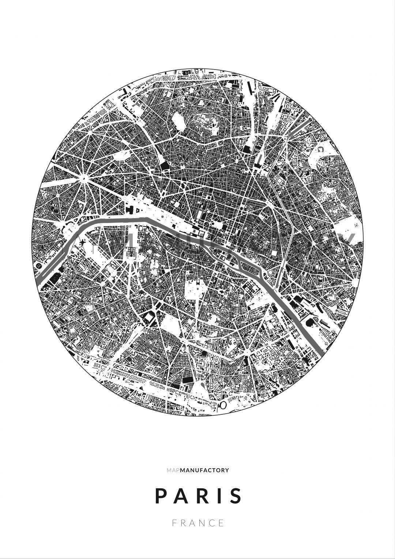 Párizs épületei körben poszteren - világos