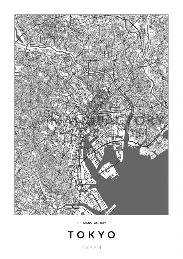 Tokió úthálózata poszteren - világos-0