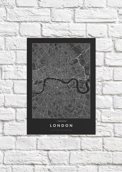 London úthálózata poszteren - sötét-1