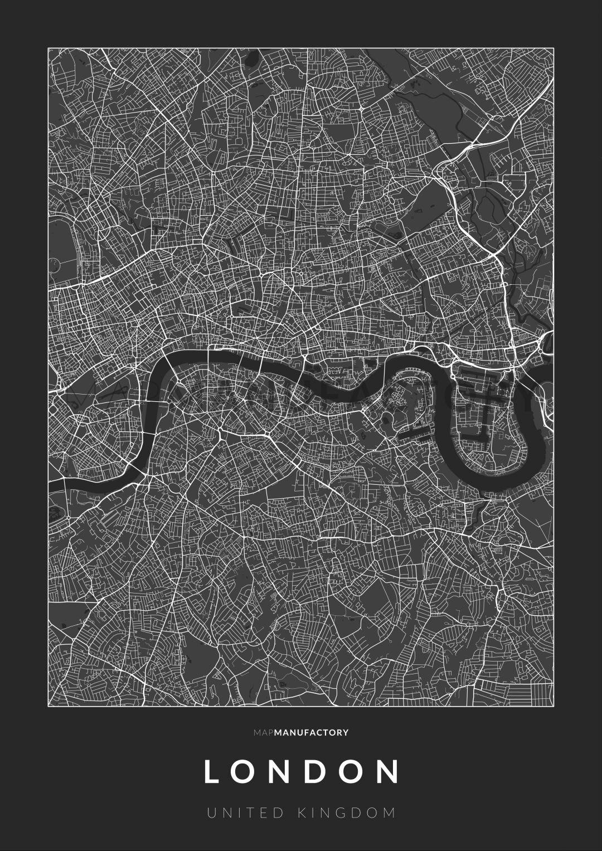 London úthálózata poszteren - sötét