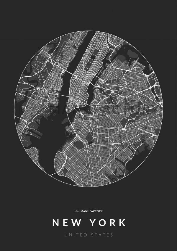 New York úthálózata körben poszteren - sötét