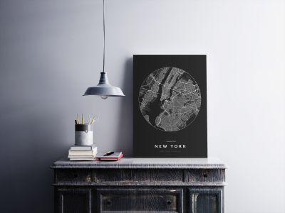 New York úthálózata körben poszteren - sötét-2