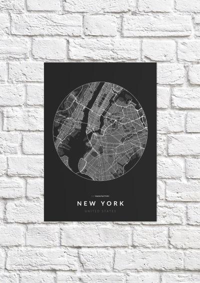 New York úthálózata körben poszteren - sötét-1