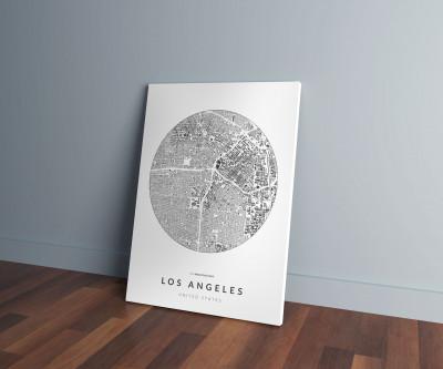Los Angeles épületei körben vászonképen - világos
