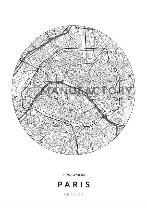 Párizs úthálózata körben poszteren - világos