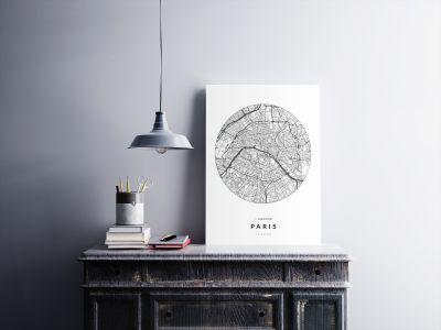 Párizs úthálózata körben poszteren - világos-2