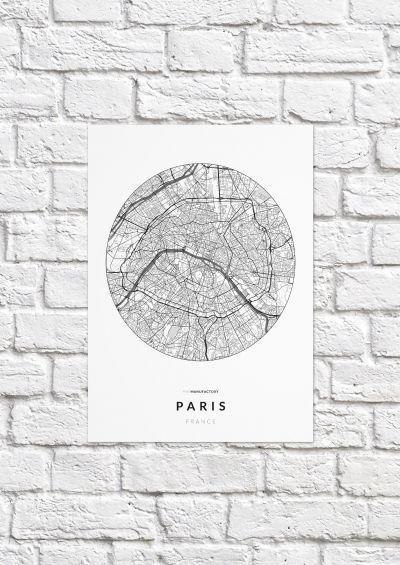Párizs úthálózata körben poszteren - világos-1