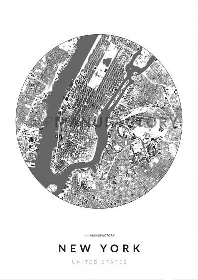 New York épületei körben poszteren - világos