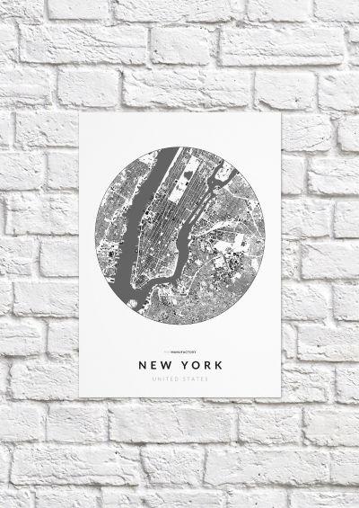 New York épületei körben poszteren - világos-1