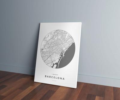 Barcelona úthálózata körben vászonképen - világos-1