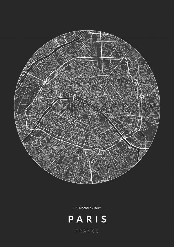 Párizs úthálózata körben poszteren - sötét