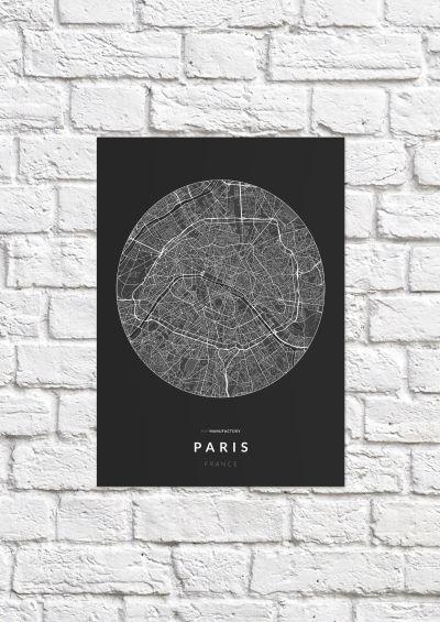 Párizs úthálózata körben poszteren - sötét-1
