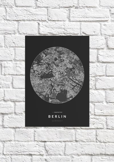 Berlin épületei körben poszteren - sötét-1