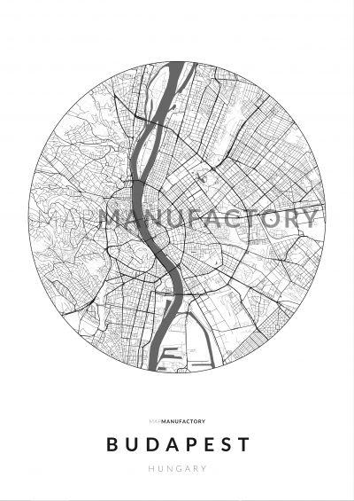 Budapest úthálózata körben poszteren - világos