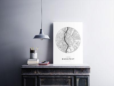 Budapest úthálózata körben poszteren - világos-2