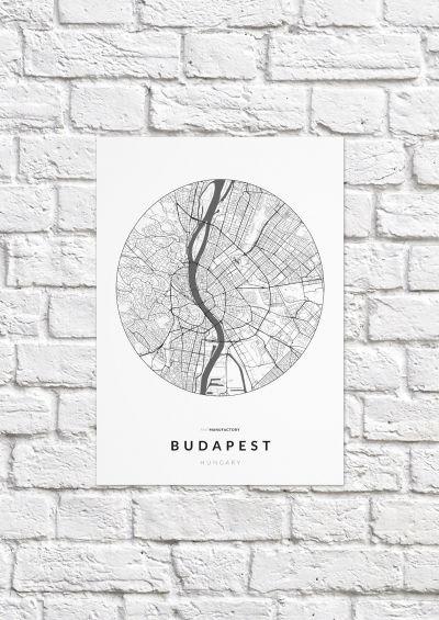 Budapest úthálózata körben poszteren - világos-1