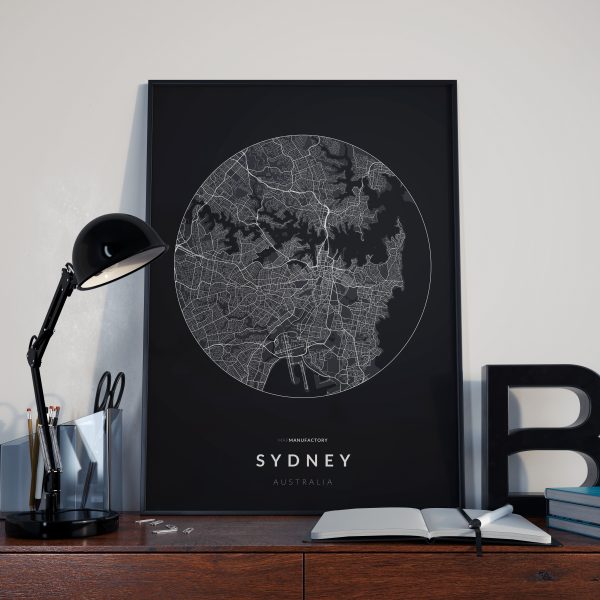 Sydney úthálózata körben vászonképen - sötét