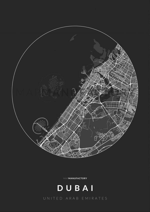 Dubai úthálózata körben poszteren - sötét