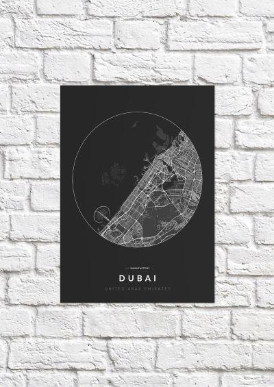 Dubai úthálózata körben poszteren - sötét-1