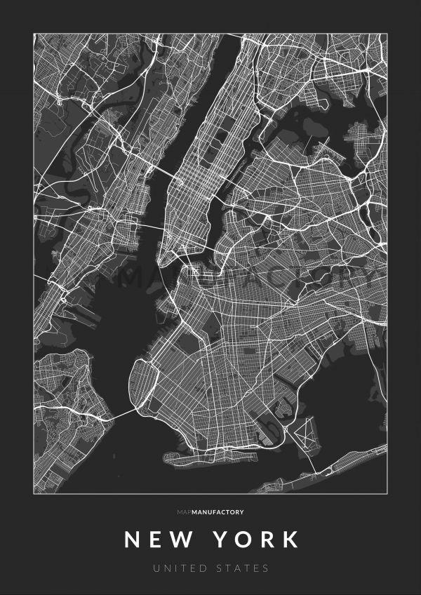 New York úthálózata poszteren - sötét