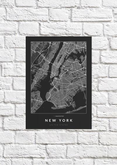 New York úthálózata poszteren - sötét-1