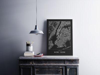 New York úthálózata poszteren - sötét-2