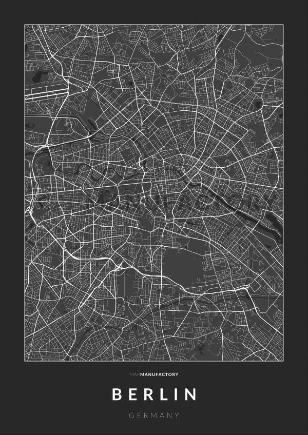 Berlin úthálózata poszteren - sötét