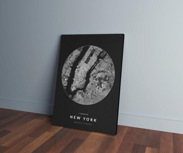 New York épületei körben vászonképen - sötét