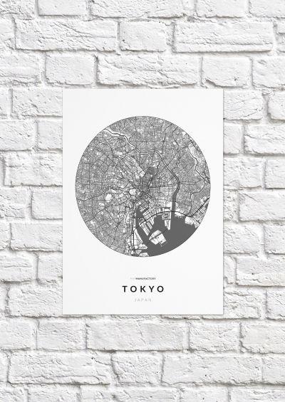 Tokió úthálózata körben poszteren - világos-1