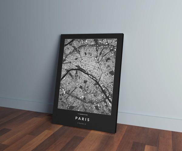 Párizs épületei vászonképen - sötét