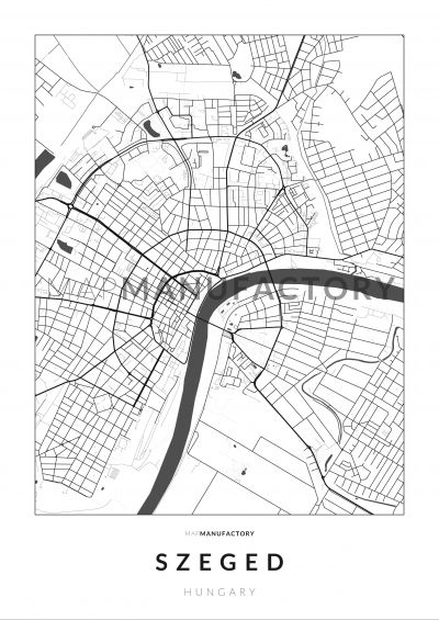 Szeged úthálózata poszteren - világos