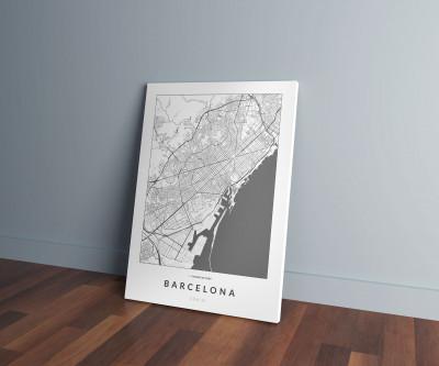 Barcelona úthálózata vászonképen - világos-0