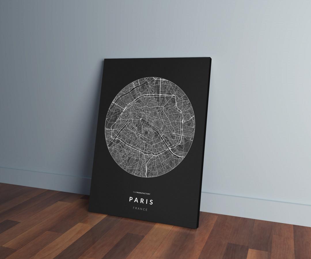 Párizs úthálózata körben vászonképen - sötét