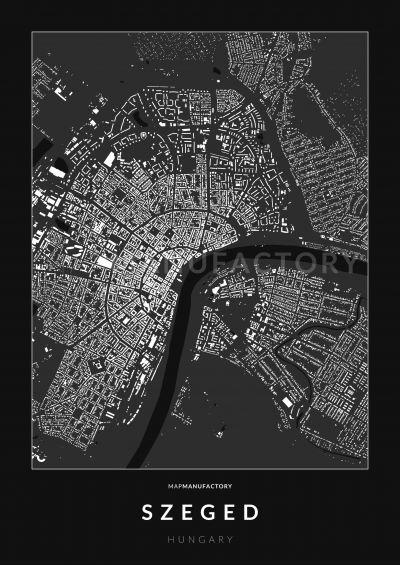 Szeged épületei poszteren - sötét