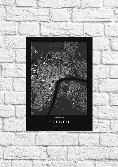 Szeged épületei poszteren - sötét-1