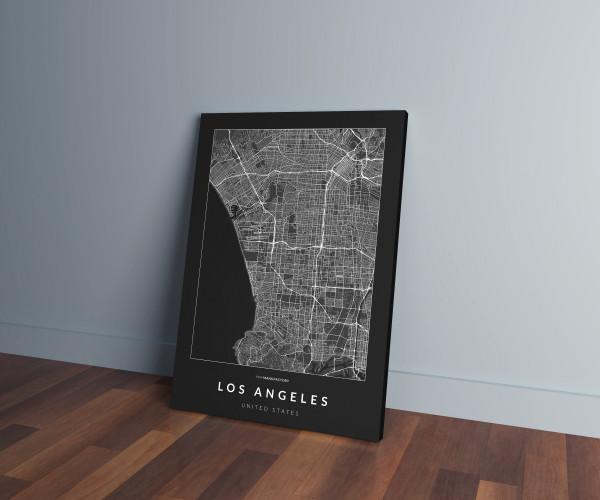 Los Angeles úthálózata vászonképen - sötét