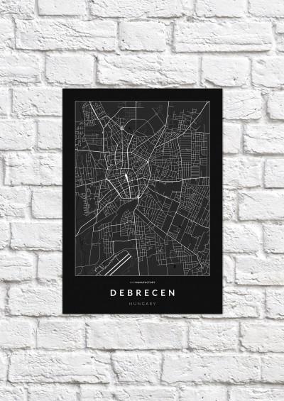 Debrecen úthálózata poszteren - sötét-1