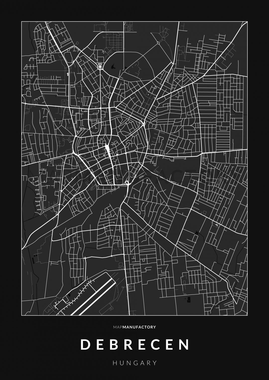 Debrecen úthálózata poszteren - sötét