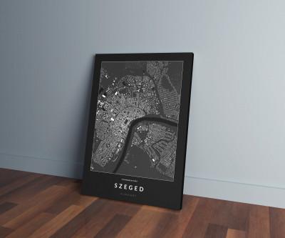 Szeged épületei vászonképen - sötét-0