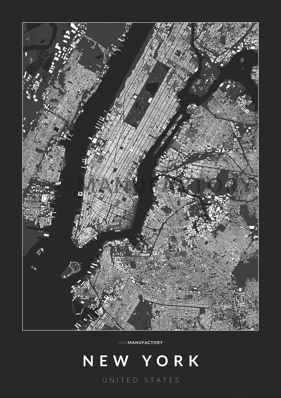 New York épületei poszteren - sötét