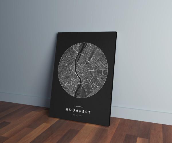 Budapest úthálózata körben vászonképen - sötét