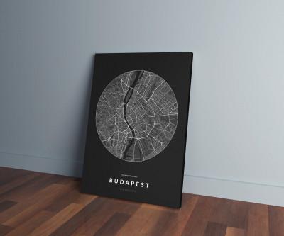 Budapest úthálózata körben vászonképen - sötét-0