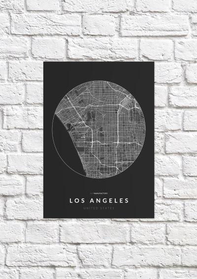 Los Angeles úthálózata körben poszteren - sötét-1