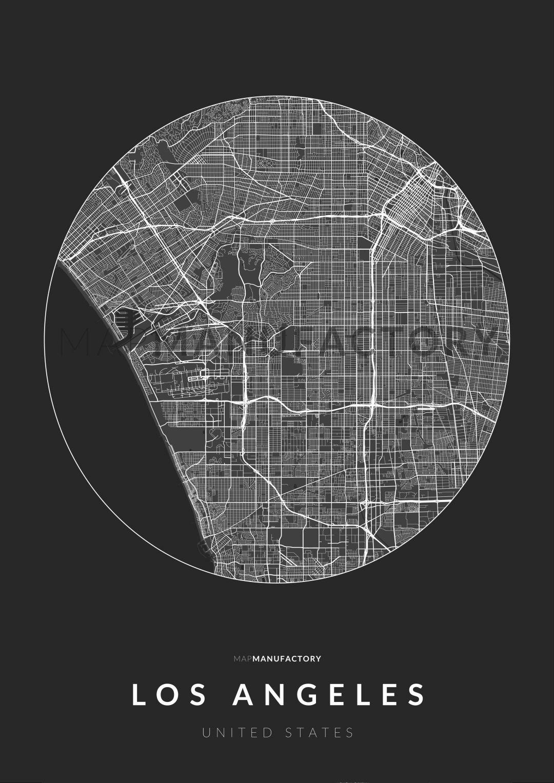 Los Angeles úthálózata körben poszteren - sötét